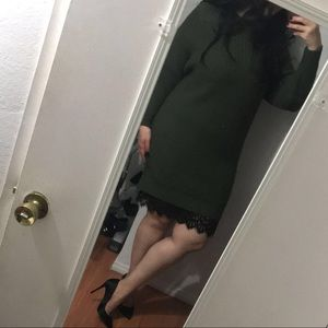 Sweater dress with attached lace slip